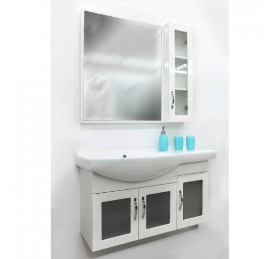 Mobile bagno  Bianco Sospeso 90 cm con lavabo in porcellana specchio e pensile